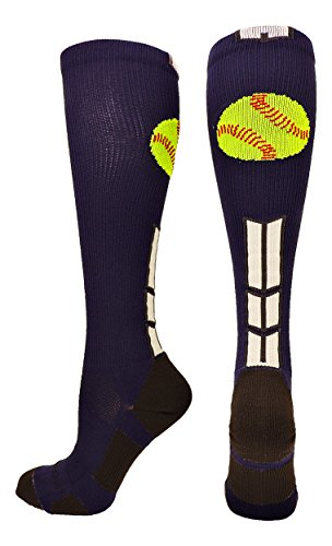 MadSportsStuff Softball Logo Over The Calf Socks (Navy/White/Graphite, Small)