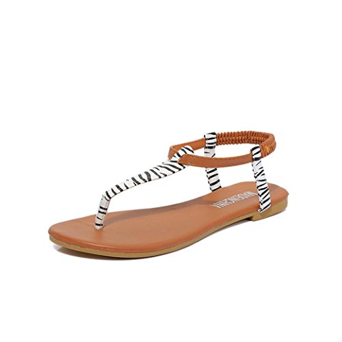 Jamicy Women Summer Casual Fashion Bohemia Style Flat Sandals White TNBjgp