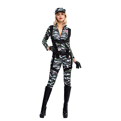 Spooktacular Creations Halloween Women Paratrooper Army Jumpsuit,