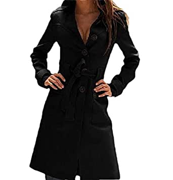 Howely Womens Fall Winter Mid Long Single Button Tunic Trench Coat Jacket Black L