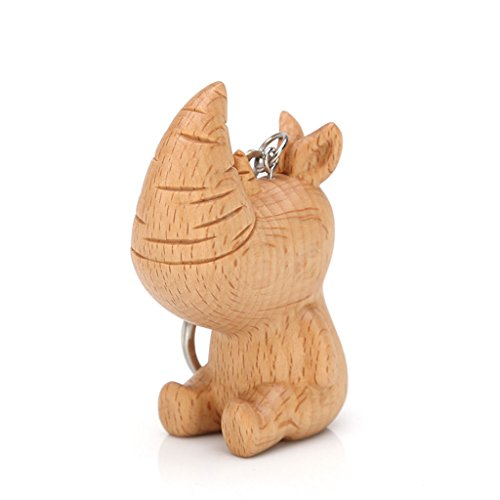 (Natural Beech Wood Carving Fun Rhinoceros Shape Keychain Key Chain Car Pendant Keyring)