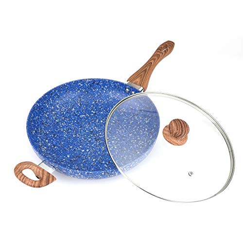 MICHELANGELO 12 Inch Frying Pan with lid, Ultra Nonstick Granite Rock Pan, Granite Stone Frying Pan Indcution Ready - Blue