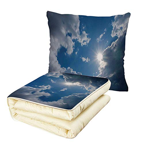 iPrint Quilt Dual-Use Pillow Sky Decor Clear Weather Sky Sun On Sky with Clouds Solar of Clean Energy Power Artwork Multifunctional Air-Conditioning Quilt Gray Blue by iPrint