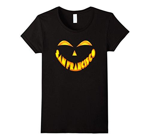 Womens San Francisco Jack O' Lantern Pumpkin Face Halloween Shirt Large Black - Halloween Costumes In San Francisco