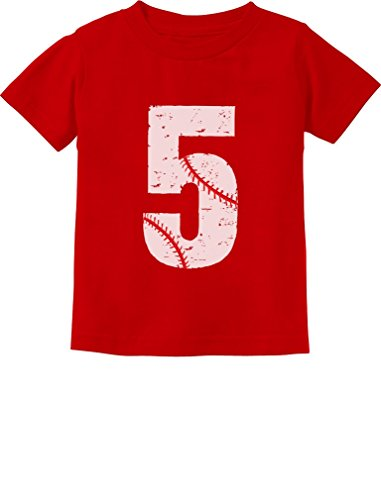 TeeStars - Baseball 5th Birthday Gift for Five Year Old Toddler Kids T-Shirt 5/6 Red