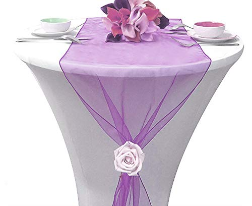 mds Pack of 10 Wedding 12 x 108 inch Organza Table Runners for Wedding Banquet Decor Dining Room Table Runner- Light Purple