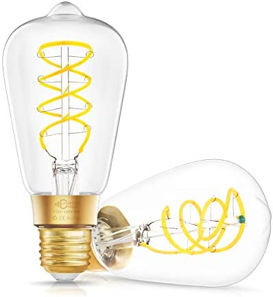 DORESshop Vintage Edison Smart WiFi LED Bulb, E26 Dimmable 8W 80W Equivalent Smart Edison Light Bulbs, ST64 Antique LED Filament Light Bulb, Work with Alexa and Google Assistant, 2 Pack