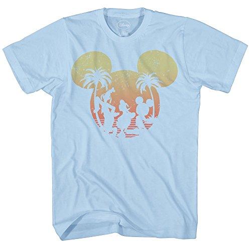 Donald Duck Goofy Sunset Disneyland World Funny Mens Adult Graphic Tee T-shirt (3XL, Light Blue) ()
