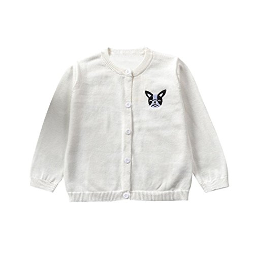 Challyhope Baby Boys Girls Crewneck Cardigan Cartoon Dog Button Knitted Sweater Solid (White, 24 Months) (Very Merry Christmas Party Button)