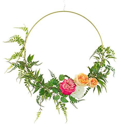 EST. LEE DISPLAY L D 1902 18IN Diameter Seasonal Floral Wreath Artificial Leaves Silk Flowers Home Decor Hanging 18'' (Green) (18' Hanging Diameter)