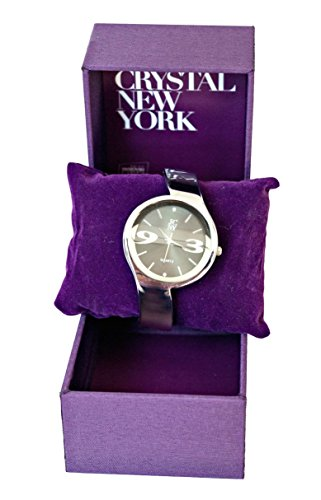 Elegante und moderne Seiko Damen-Armbanduhr mit Ziffern in grau, silber und schwarz, Seiko Uhrwerk, analoger Anzeige und Armreif, Marken Uhr von Jimmy Crystal New York