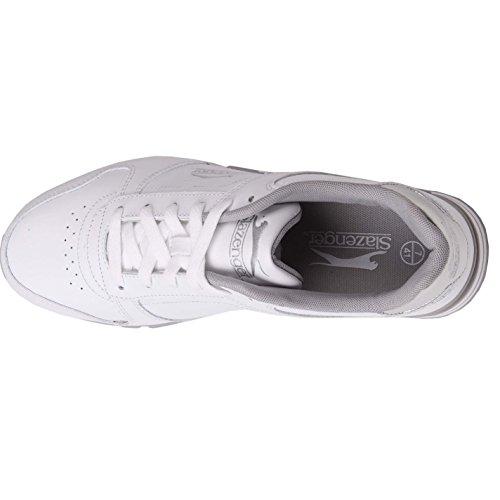 Plateado Blanco Slazenger Piel Zapatillas Blanco de Y para mujer q8wTqX
