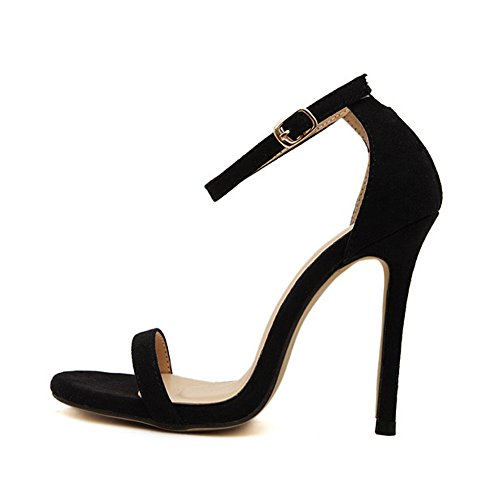Womens Classic Stiletto High Heel Ankle Strap Sandals Black Velvet otpavIy