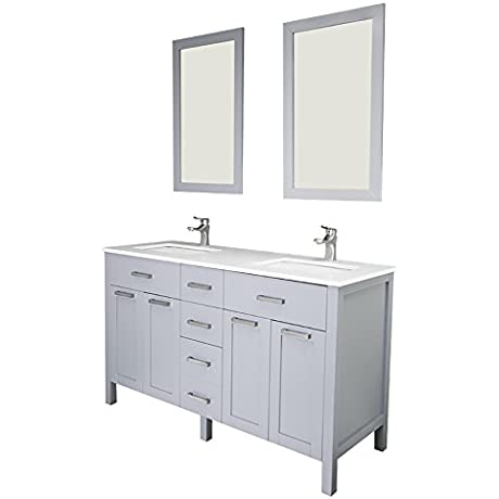 Vittoria 60 Gray Solid Doors Quartz Sink