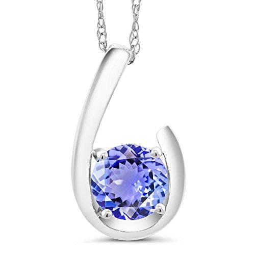 Gem Stone King 0.90 Ct Round Blue Tanzanite 10K White Gold Pendant With Chain (Gold Genuine Tanzanite Pendant)