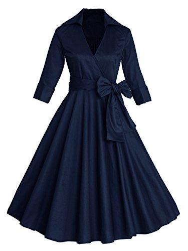 3/4 Sleeve Classy V Neck Audrey Hepburn Style 1940's Rockabilly Dress (Navy,XL)