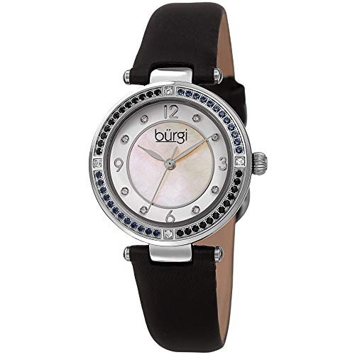 Burgi Ombra Colored Crystals Women's Watch - 8 Diamond Markers On Mother-of-Pearl Dial - Satin Over Genuine Leather Strap - BUR251BK (Black)