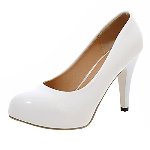 YE Damen Plateau Lack Pumps Stiletto Geschlossene High Heels mit 9cm Absatz Elegant Kleid/Büroschuhe Weiß