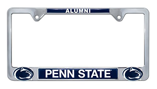 Premium All Metal NCAA Alumni License Plate Frame w/Dual 3D Logos (Penn State)