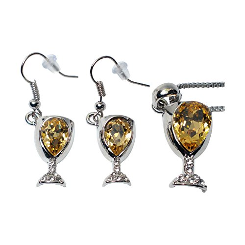 Prefen Alloy Wine Glass Necklace and Earrings with Wine Tinted Crystal Set - Fun Wine Gift - Yellow