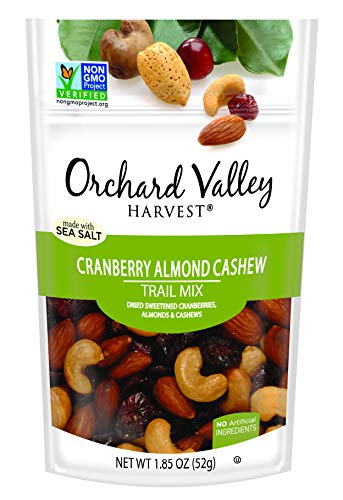 ORCHARD VALLEY HARVEST Cranberry Almond Cashew Trail Mix, Non-GMO, No Artificial Ingredients, 1.85 oz (Pack of ()