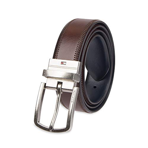 Tommy Hilfiger Reversible Leather Belt - Casual for Mens Jeans with Double Sided Strap and Silver Buckle, brown/blue, 36