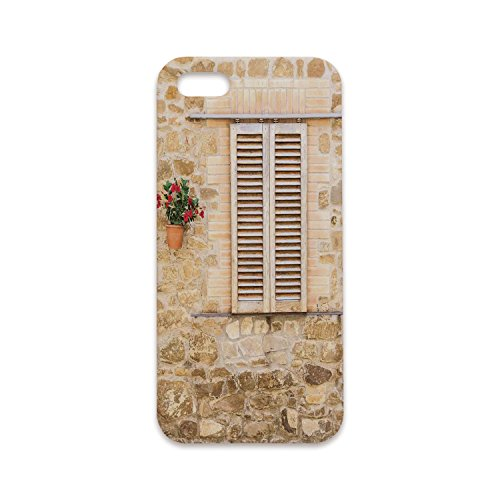 Phone Case Compatible with iPhone6 Plus iPhone6s Plus 3D Print,Tuscan,Rustic Stone House and Window Shutters Flower Pot on Wall Italian Country Home Theme,Beige,Customized Phone (Tuscan Finish Stone)