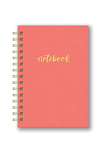 Studio Oh! Hardcover Leatheresque Spiral Notebook Available in 10 Colors, Pop of Coral