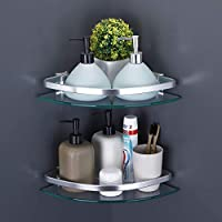 KES Aluminum Glass Shelf Bathroom Bath Corner Caddy Basket Storage Hanging Organizer with Extra Thick TEMPERED Glass Contemporary Style Wall Mount Single Tier 2-PACK A4120A-P2 KES Home