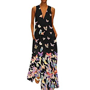 KPILP Women's Maxi Dress Casual Summer Butterfly Print Dress Sleeveless Loose fit Beach Party Long Dresses for Ladies Night Club Party Elegant Maxi Dress