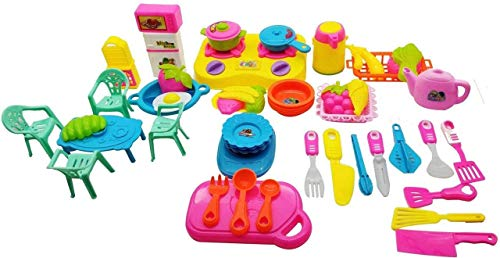 PLUSPOINT Household Set for Kids Pretend Play Set – Home Appliances Kitchen Play Sets Toys – Household Set (50 pc Kitchen)