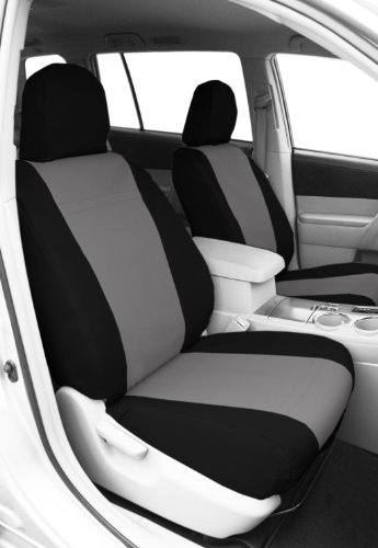 CalTrend Front Row Bucket Custom Fit Seat Cover for Select Toyota Tundra Models - DuraPlus (Light Grey Insert with Black Trim)
