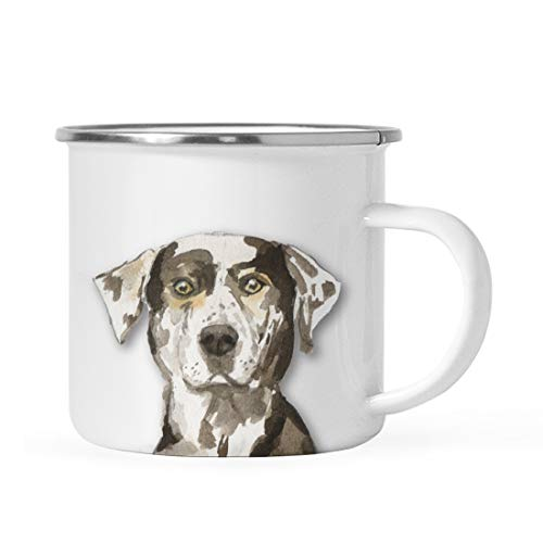 Andaz Press 11oz. Stainless Steel Dog Campfire Coffee Mug Gift, Catahoula Leopard Dog Up Close, 1-Pack, Pet Animal Camp Camping Enamel Cup Modern Birthday Gift Ideas for Him Her Family