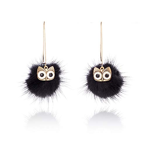 songsongcc fashionnecklacebraceletanklet Women Fashion Cute Earrings 2017 Fur Pompom Owl Drop Earrings Hanging for Ladies Girls Party Jewelry Accessories Ornament Gifts ()