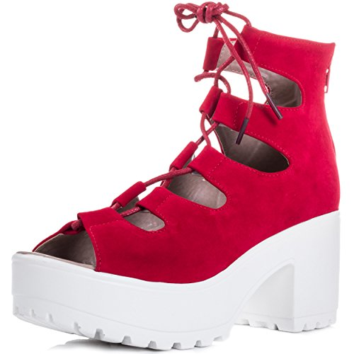 Spylovebuy Laser Women's Lace Up Block Heel Sandals Shoes Red Suede Style
