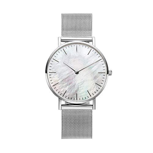 - Silver Mesh Strap Lock & Key Story Mesh Bracelet Set With White Seashell Mesh Wrist Watches and Wave Chain Bracelet,Set 4