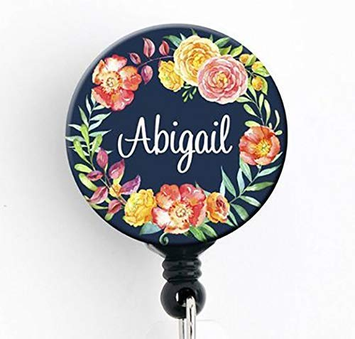 HM - Navy Floral Wreath - Personalized Badge Reel/Badge Holder/RN/Teacher/Nurse/Stocking Stuffer