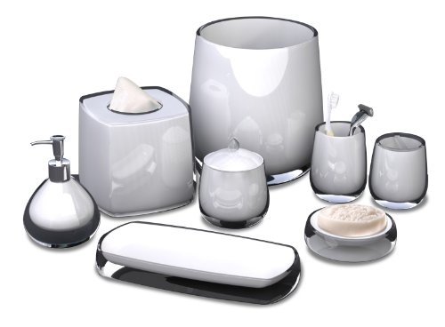 nu steel Rolypoly Resin Bath Accessory Set for Vanity Countertops 8 Piece Includes Container,soap Dish,Toothbrush Holder, Tumbler,soap Lotion,Waste Basket,Tissue Box Holder,Tray-White Resin - Matching pieces include cotton swab/cotton container,soap dish,toothbrush holder,tumbler,soap and lotion pump,wastebasket,boutique tissue,amenity tray Elegant bath accessory set Select a style to match your bathroom decor - bathroom-accessory-sets, bathroom-accessories, bathroom - 41OvM3l94RL -
