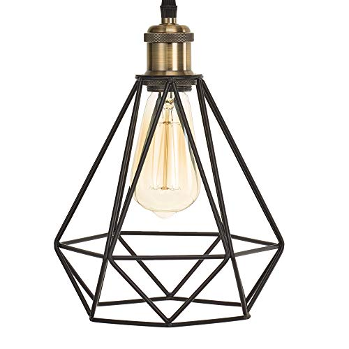 Home Luminaire 31697 Topaz 1-Light Diamond Cage Pendant with 3 ft. Cord Antique Brass/Bronze Finish