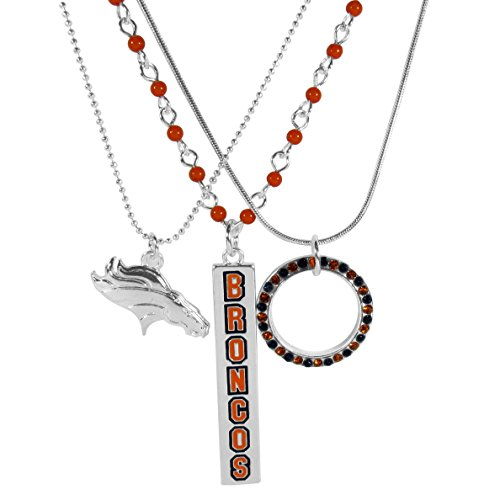 NFL Denver Broncos Womens Trio Necklace Set, 16