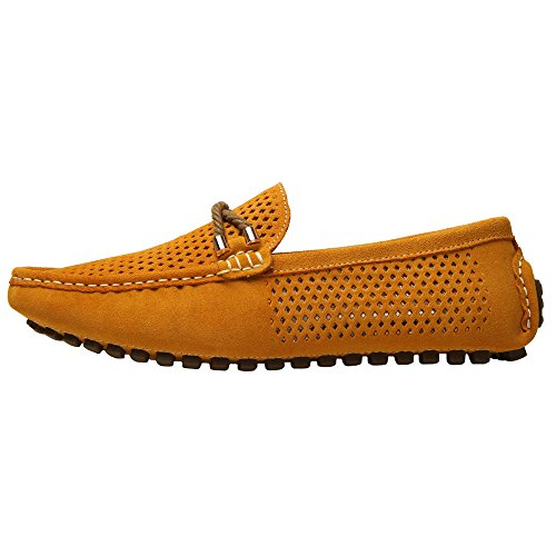 Jions Mens Driving Mocassini In Pelle Scamosciata Mocassini Slip-on Traspiranti Scarpe Casual Da Barca Estate Gialle