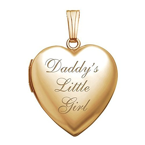PicturesOnGold.com 14K Gold Filled Daddys Little Girl Heart Locket - 3/4 Inch X 3/4 Inch in Solid 14K Gold Filled with Engraving ()