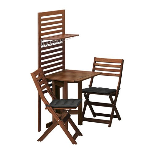 Ikea Wall panel, gateleg table & 2chairs, brown stained, Hållö black 10204.172017.2226