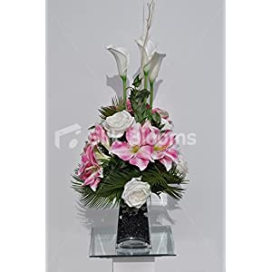 Spring Pink Amaryllis Floral Arrangement w/ White Calla Lilies and Roses 64