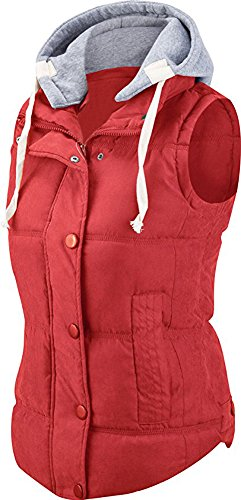 For G and PL Women Slim Puffer Padded Zipper Vest Red (US 4-6)/Tag XL (Puffer Red)