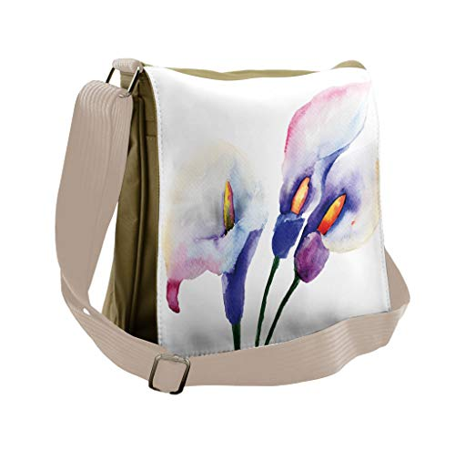 Lunarable Watercolor Flower Messenger Bag, Pale Lily Bloom, Unisex Cross-body -  bei_14540