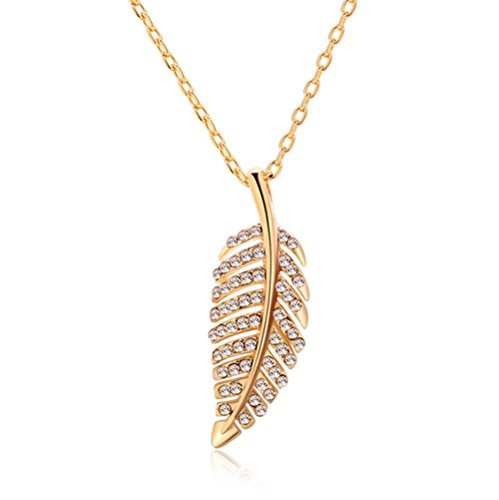 Oval Link 24' Necklace (Gorgeous Jewelry Leaf Shape Gold Plated Nice White Diamond Accented Charming Pendant Necklace)