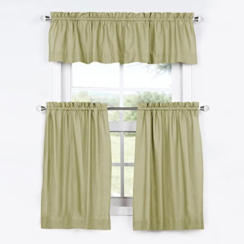 HPD Half Price Drapes PRCT-S13-36-TCV Solid Cotton Kitchen Tier Curtain Valance Set 3 Pieces , 29 X 36, Mountain Moss