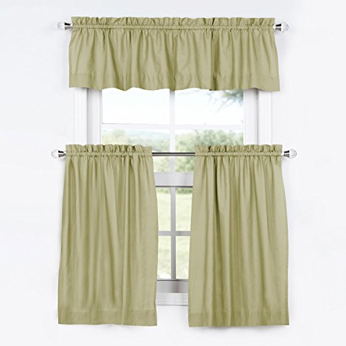 PRCT-S13-24-TCV Solid Cotton Kitchen Tier Curtain & Valance Set, Mountain Moss, 29 x - Cotton Drapes Valance