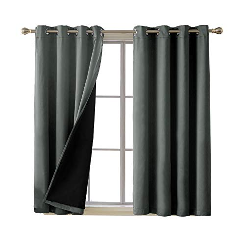 (Deconovo Total Blackout Blackout Curtains Grommet Top Room Darkening Faux Silk Satin Thermal Insulted Curtains for Living Room 52 x 63 Inch Grey 2 Panels)